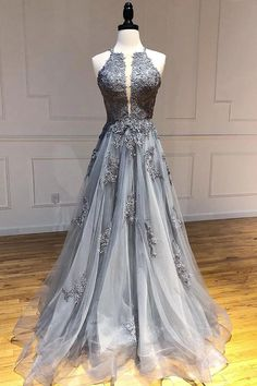 Buy A Line Spaghetti Straps Lace Silver Long Prom Dresses with Applique Open Back Party Dresses online.Shop short long ombre prom, homecoming, bridesmaid evening dresses at Couture Candy Cocktail party dresses, formal ball gowns in ombre colors. Prom Dresses Two Piece, Backless Prom Dresses, A Line Prom Dresses, Prom Party Dresses, Grey Formal Dresses, Graduation Dresses, Party Gowns, Dress Prom, Club Dresses