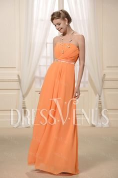 Concise Ruched A-Line Strapless Floor-length Bridesmaid Dress