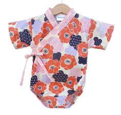 Baby Kimono Bodysuit - PLUM BLOSSOM - Japanese kimono onesie for baby and toddler by koolmono on Etsy