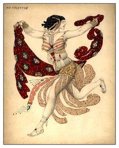 Léon Bakst, costume design for Ida Rubinstein (Cleopatra), 1909