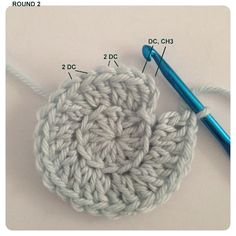 Round 3: Chain 3, DC into same stitch. *DC in back loop. 2 DC in next back loop. Repeat from * around. End with DC in last back loop and join with SS in chain 3 (36 DC)