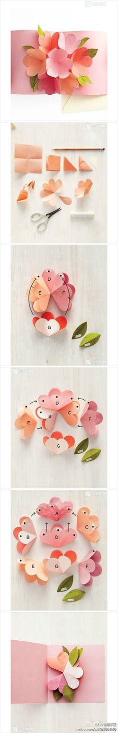 DIY Flower Pop Up Card DIY Projects | UsefulDIY.com Pop Up Flowers, 3d Paper Flowers, Paper Flower Bouquets, How To Wrap Flowers, Pop Up Flower Cards, Diy Cards Pop Up, Diy Popup Cards, Pop Up Valentine Cards, Cards Diy