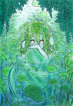 "mermaholic: "" A timid nixie peaks at us from her lily-padded pond. Available as a 7$ print from the artist, Mikiko Ponczeck, here. """