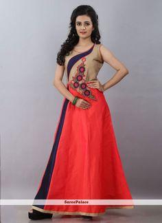 Lively Embroidered Work Silk Peach Designer Gown
