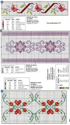 Really nice Cross-Stitch towel flowers patterns. Cross Stitch Boarders, Cross Stitch Bookmarks, Cross Stitch Heart, Cross Stitch Flowers, Counted Cross Stitch Patterns, Cross Stitch Designs, Cross Stitching, Cross Stitch Embroidery, Embroidery Patterns