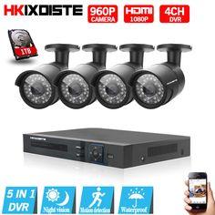 4CH CCTV System 1080P HDMI AHD 4CH CCTV DVR 4PCS 1.3 MP IR Outdoor Security Camera 960P Waterproof Camera Surveillance System  #Affiliate
