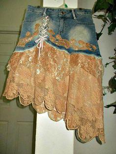 Rose Gold tulle jean skirt ruffled mauve beige rhinestones French lace tulle ruffles upcycled bohem