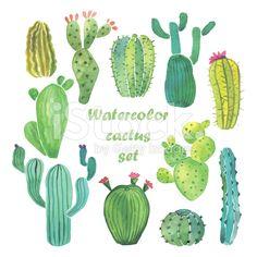 Aquarell cactus set lizenzfreie Stock-Vektorgrafik