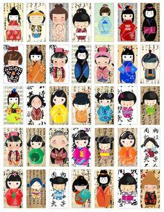 35 domino sized Kokeshi dolls on backgrounds of Asian writing  --  no. 246 on Etsy, $3.75