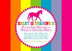 Unicorn Birthday Party Custom Printable Invitation by slindb, $10.00