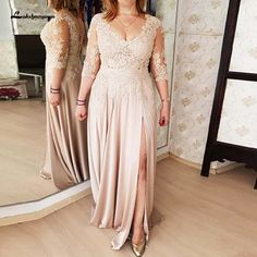 Bodice Long Mother Of The Bride Dress With Side Slit Sexy Groom Mother Gowns , V Neck Prom Dresses, Prom Party Dresses, Party Gowns, Wedding Dresses, Dress Party, Bridesmaid Dresses, Mother Of The Bride Dresses Long, Mothers Dresses, Vestidos Chiffon