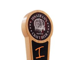 You can personalize this beautiful tap handle with your choice of text. It features a laser engraved marbled acrylic insert with our Craft Beer logo and a black acrylic insert for use with liquid chalk pens.
