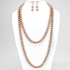 Silver and Light Brown Pearl Necklace Set