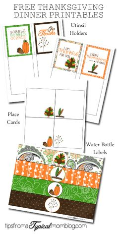 Free Thanksgiving Dinner Printables! So fun and so cute!