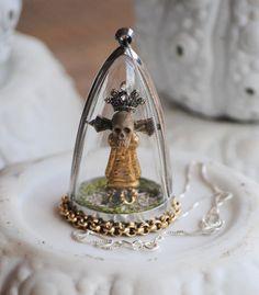 Miniature gothic saint santos reliquary diorama, cloche, dome pendant & necklace by Erika Warren