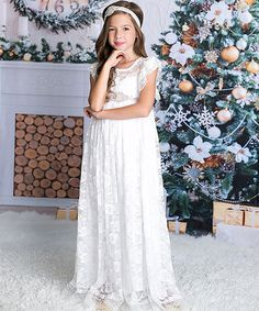 Look at this Just Couture White Lace-Overlay Flutter Sleeve Gown - Infant, Toddler & Girls on #zulily today!