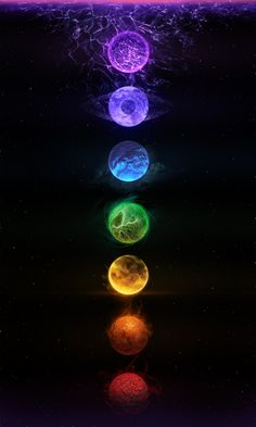 chakras ... black/red-base-root, orange-sacral, yellow-solar plexus, green/pink-heart, turqouise/light blue - throat, indigo-3rd eye, violet/white-crown ...unbalanced & blocked chakras = illness,  may the force within you find balance = happiness & health ...