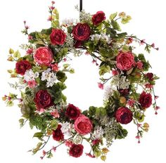 Features Cabbage Rose, blossoms, ivy+ Multiple sizes available Made-to-order in Powell, Ohio Designer Quality Floral Indoor or Outdoor Use Gorgeous spring wreat