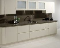Kitchen Ideas Cream Gloss cream gloss curved corner units | approx 14 month old howdens