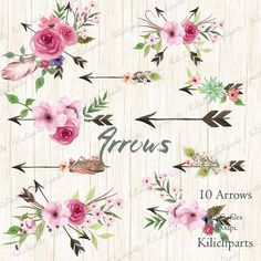 Arrows Watercolor Clipart. 10 Hand painted arrows by Kilicliparts