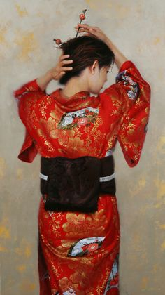Maiden in Red - Jonathan Ahn - Fine artist, Original Oil Figurative paintings, Genre Paintings, City Scapes, San Francisco, Waterhouse Gallery Santa Barbara, California
