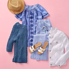 Nothing says summer-ready like cool whites and dreamy blues. Just add sun! ☀️ | Talbots Summer Outfits Floral Stripe, Striped Linen, Wide Leg Linen Pants, Capsule Wardrobe, Talbots, Summer Outfits, My Style, Clothes, Frases