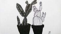 #illustration #botanical #cactus #blackandwhite #monochrome #usupera