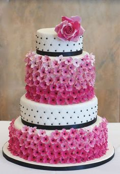 Four-Tier White Cake with Black Accents and Pink Flowers - Pink Birthday Cake Ideen Beautiful Wedding Cakes, Gorgeous Cakes, Pretty Cakes, Amazing Cakes, Crazy Cakes, Fancy Cakes, Pink Cakes, Unique Cakes, Elegant Cakes