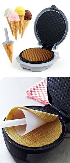 Waffle cone maker machine // Nonstick pan, creates perfect fresh cones in minutes. Yum! #product_design