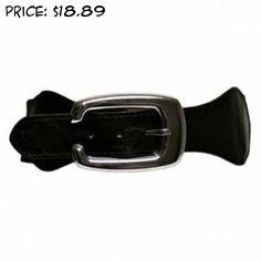 Black Elastic Cinch Belt W/Big Silver Buckle Size M/L