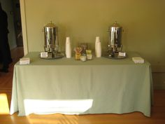 Coffee station with biocompostable cups.