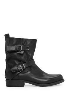 Leather biker ankle boots