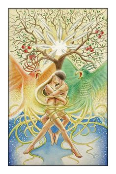 The lovers tarot card; mysterious honesty, intertwined head to toe.