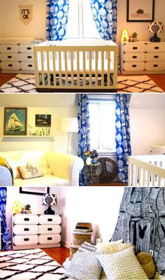 nursery layout...crib in front of window flanked by two chests