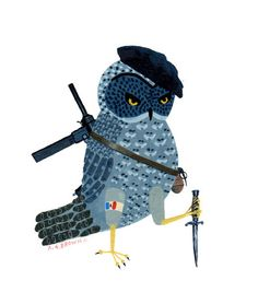 french resistance owl  print by medusawolf on Etsy, $15.00