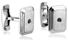 Men's Sterling Silver Matte Rectangular Cuff Links with Black Diamond (1/10 cttw) Amazon Curated Collection. $65.00. Made in China. Black diamonds may have been treated to improve their appearance or durability and may require special care.