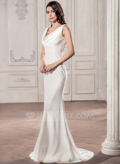 51864f38e12 Trumpet Mermaid Cowl Neck Sweep Train Zipper Up at Side Regular Straps  Sleeveless Beach Hall General Plus No Spring Summer Fall Ivory Jersey  Wedding Dress