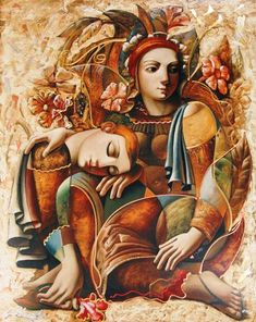 Artist: Oleg Zhivetin, Title: Lovers with Flowers