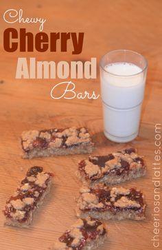 Chewy Cherry Almond Bars #dessert #cherryrecipes #almondrecipes #barrecipes