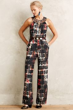 abstract plaid jumpsuit #anthrofave #anthropologie #sale