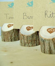 Rustic Wood  Place Card Holders Set of 25 Eclectic Mix   Personalized Wood Holders. $56.25, via Etsy.