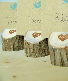 Namenskarten - Rustic Wood  Place Card Holders Set of 25 by MonkeysOnTheRoof