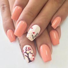 Hope fall heart tree nail art design