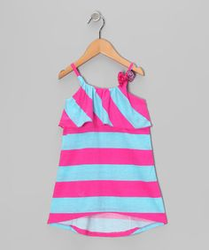 Take a look at this Pink & Blue Stripe Ruffle Dress - Toddler by Cherry Stix on #zulily today!