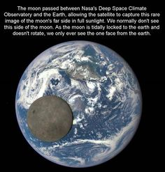 The Moon passing in front of Earth. The pictures were captures by NASA's Deep Space Climate Observatory (DSCOVR) satellite, drifting a million miles away. The images show the far side of the Moon which is never seen from the Earth. Earth And Space, Nasa Photos, Nasa Images, Moon Images, Space Images, Space Photos, Flat Earth, Our Solar System, Deep Space