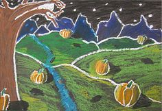 I found the original idea for this project at Creative Art Lessons and knew I had to give it a whirl with my 4th grade students. There is something quite pleasing when using oil pastels on black paper and I knew that my students would get a kick out of making landscapes featuring 3-dimensional pumpkins!! We had a high success rate with this project, plus we covered a mountain of information and hit lots of curriculum standards!! The students are so proud of their work!