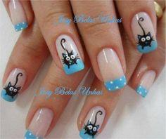Neko♥ nail designs 2019 nail designs for short nails 2019 nail art stickers online nail art stickers at home nail art strips Animal Nail Designs, Fall Nail Art Designs, Stylish Nails, Trendy Nails, Fancy Nails, Cute Nails, Nail Art Printer, Wow Nails, Pretty Nail Colors