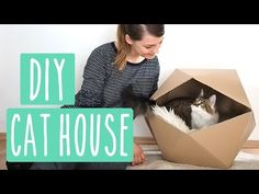 Geometric Cat House - DIY Katzenhaus aus Karton! #Upcycling - YouTube