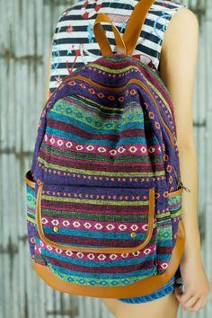 Colorful Abstract tribal native design backpack School Bag/ Ethnic rucksack/ holiday bag / Hippie /Boho ethnic gypsy woven tapestry hobo bag