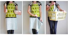 Hand Towel Apron With Zipper - Tutorial.  This is a great idea since I always wipe my hands on my jeans!